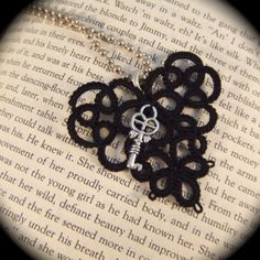 Tatted Lace Pendant  Key to My Heart  Black with Key by TotusMel, $15.00