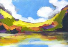 A fun painting of an abstracted landscape in green, blue, yellow, purple, and red. This is a part of a pair, including Fall Reflections I and II.