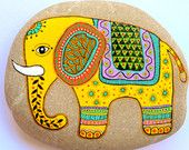 Hand Painted Stone Elephant