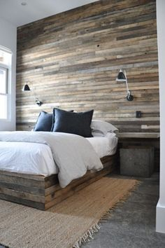 Maybe someday we'll have a bedroom big enough to do something like this. I would make hidden drawers in that bed frame.