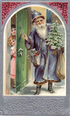 .Santa in a blue robe