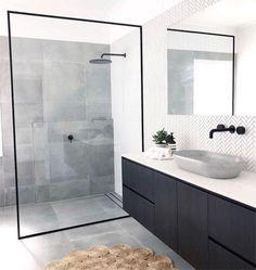 Bathroom inspiration by . Loving the black framed shower screen, contrast of tiles and concrete basin. 🖤Basin and regram . Bathroom Grey, Bathroom Layout, Modern Bathroom Design, Bathroom Interior Design, Small Bathroom, Shower Bathroom, Bathroom Ideas, Tile Showers, Tile Layout
