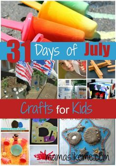 Mamas Like Me: 31 Days of July Crafts for Kids - including lots of beach, ocean, and transportation crafts Summer Daycare, Summer Crafts For Kids, Summer Activities For Kids, Summer Kids, Projects For Kids, Art For Kids, July Crafts, Crafts To Do, Kids Crafts
