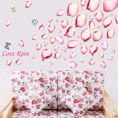 wall decals quotes --Amazon.com - YYone Love Rain Quote Pink Petal Leaves Butterflies Wall Decal Home Decor Sticker -