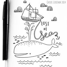 Lost At Sea. Day 50 of yearlong 30 minute a day sketchbook project. Cassie Loizeaux