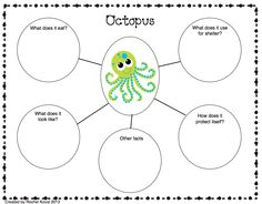 Habitat - This is an web organizer from the Ocean section of the Habitat Unit found on Teachers Pay Teachers. The unit includes a variety of organizers and recording sheets to help your students explore and learn about the habitats. Habitats studied are: Forest Desert Ocean Swamp Rainforest Arctic Each habitat has: Colorful posters Living things poster K-W-L chart Exploration sheets Shelter sheets Webbing Riddles Label the animal sheets Vocabulary Venn diagrams Create your own sheets and…