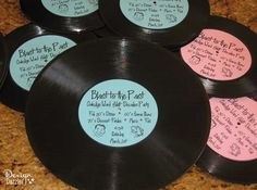 Make these simple record invitations for your next Sock Hop! Tutorial on Design Dazzle.