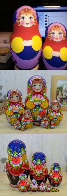 10 piece matryoshka doll by artist Nadezhda Tihonovich Wooden Figurines, Wooden Toys, Matryoshka Doll, Bunch Of Flowers, Craft Corner, Russian Art, World Of Color, Doll Patterns, Etsy Seller