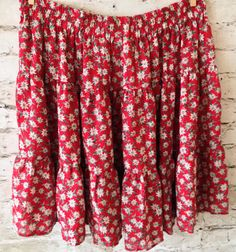 Express Tiered Skirt Red Floral Size Large Hippie Boho Polyester Elastic Waist…