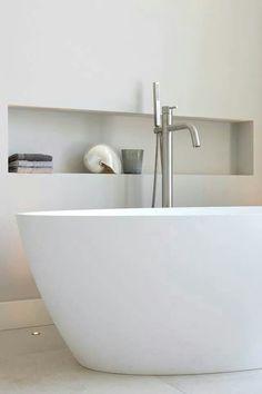 Off-centre bath wall niche Laundry In Bathroom, Bathroom Inspo, Bathroom Renos, Bathroom Inspiration, Bathroom Interior, Master Bathroom, Minimalist Bathroom, Modern Bathroom, Recessed Shelves
