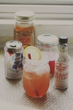 Rhubarb and PBR Cocktail