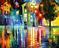 Pintado a mano moderno arte de la pared de la noche pintura al ...