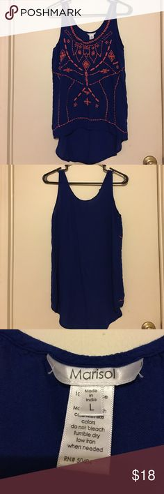 Cute Detailed Tank Top - Dressy or Casual! Lightweight - Royal blue Tank Top with Neon Pink Thread Detail - Could be dressed up or worn casual - Only worn once and washed once! NOT AMERICAN EAGLE OUTFITTERS - But inspired by their line American Eagle Outfitters Tops Tank Tops
