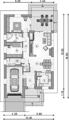 Rzut parteru projektu GL-1288 Sfinks VI My House Plans, Sweet Home, Floor Plans, How To Plan, Projects, Costa Rica, House Ideas, House, Log Projects