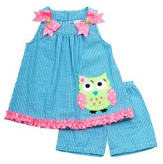 Little Girl Seersucker Owl Set - Rare Editions Girls - TOO CUTE FOR WORDS! $27.99 Love it!