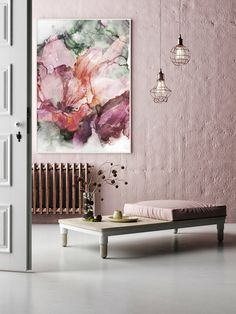 Living Room Interior, Scandinavian Style, Frames On Wall, Flora, Abstract Art, Tapestry, House Design, Summer, Pink