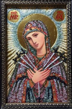Diamond encrusted icon of the Mother of God Semistrelnaya (seven arrows)