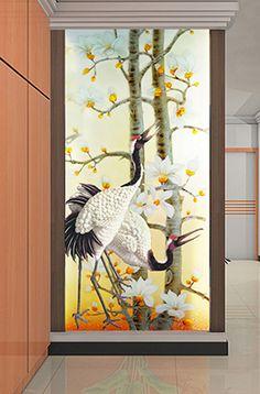 Papier peint chinois - Paysage avec les bambous et les oiseaux ...