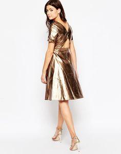 Little Mistress Metallic Dress with Cut Out Back detail
