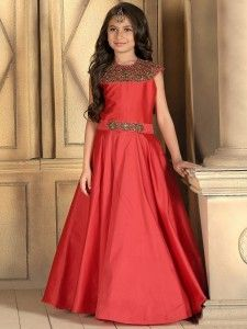 Solid red silk classy gown
