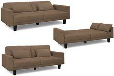 Romeo Modern Convertible Futon Sofa Bed Sleeper Brown