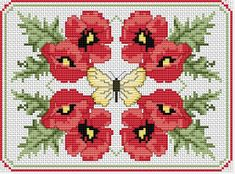 Poppies Composition, free cross stitch pattern from Alita Designs