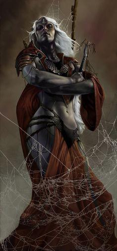 Lolth, sous sa forme humaine. Souveraine démoniaque des arachnides, elle est la déesse maîtresse des Drows.