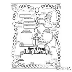 Teach kids how to pray the rosary by coloring this poster as a Sunday School craft. Each poster has a space for your name and the lessons they learn. Catholic Religious Education, Catholic Catechism, Catholic Crafts, Catholic Religion, Catholic Kids, Rosary Catholic, Catholic School, Teaching Religion, Ccd Activities
