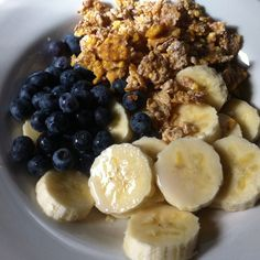 Banana, Blueberries, Corn Flakes with Soy milk