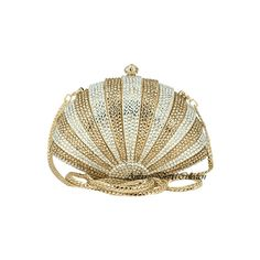 Anthony David® Evening Bag with Swarovski Crystal AD157 Gold Seashell ($290) ❤ liked on Polyvore featuring bags, handbags, clutches, purses, accessories, crystal purses & evening bags, gold evening bag, clear purses, gold handbags and man bag