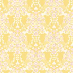 Estelle Yellow and Pink wallpaper by Majvillan