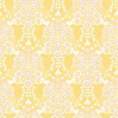 Estelle Yellow and Pink wallpaper by Majvillan