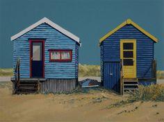 Linda Monk's beach hut paintings are beautiful works to close the season. #Art