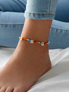 Pulsera tobillera con cuenta con diseño de margarita 1 pieza   ROMWE Diy Crafts Jewelry, Cute Jewelry, Handmade Jewelry, Beaded Crafts, Bead Jewellery, Beaded Jewelry, Beaded Bracelets, Ankle Jewelry, Ankle Bracelets