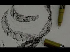 Pen & Ink Drawing Tutorials | How to draw feathers with pen & ink - YouTube