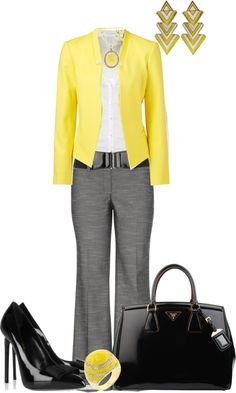 def no in the shoes and earring but I like the bright yellow with grey slacks