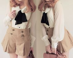 cute suspender skirt with white blouse and black scarf tie, cute outfit, K Fashion,  (≧∇≦)/ casual, cute outfit, Cute Korean Fashion, korea, Korean, seoul, kfashion, kpop fashion, girl's wear, ladies' wear, pretty, kawaii