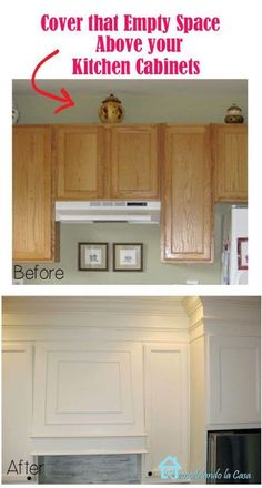 Kitchen Cabinet Remodel How to close the space above the kitchen cabinets with MDF and moldings.add colored strips: - How to close the space above builder's grade oak kitchen cabinets with MDF and moldings Kitchen Cabinets Before And After, Oak Kitchen Cabinets, Kitchen Redo, Kitchen Ideas, Kitchen Furniture, Crown Moulding Kitchen Cabinets, 1960s Kitchen, Long Kitchen, Kitchen Interior
