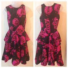 Bensoni Peplum Floral Party Silk Dress Sz 2