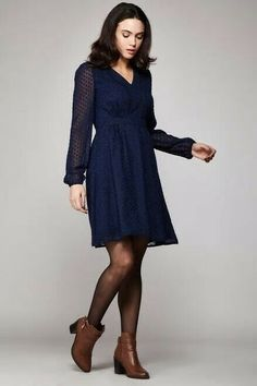 ab03b53dc4a2e Yumi Clothing - Dobby Spot Long Sleeved Chiffon Dress Navy Blue Uk 10  #fashion #