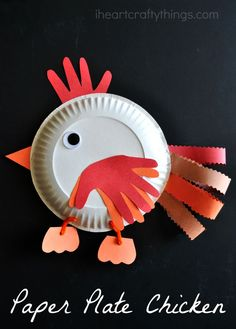 Paper Plate Chicken Craft for Kids. Book recommendation for the craft in the post.