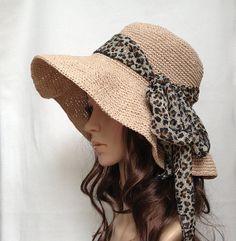 FUN! PDF pattern-crocheted hat no. H450B, rayon raffia hat, straw hat, sun hat, cotton hat