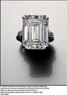 Princess Soraya's engagement ring featured a Harry Winston diamond mounted in platinum. This ring sold for $838,350 on March 6, 2002, in an auction at Drouot Montaigne in Paris.