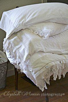 Lovel filet crochet lace trimmed pillowcases ~~ The Adventures of Elizabeth