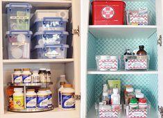 Dicas para organizar medicamentos Medicine Cabinet Organization, Bathroom Medicine Cabinet, Konmari, Alcohol En Gel, Ideas Para Organizar, Personal Organizer, First Aid, Kitchen, House