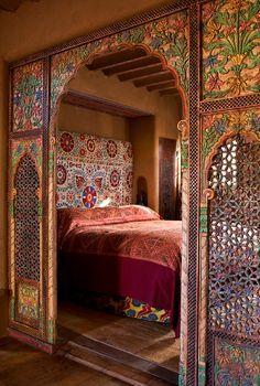 Colorful Moroccan Inspired Bedroom In Santa Fe, NM
