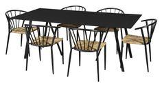 Coventry havemøbelsæt med 6 Lima stole - natur