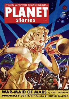 Vintage Sci Fi Poster Planet Stories ANC May 25c