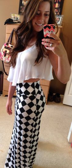 Summer outfit- checkered long skirt with flowing crop top tank