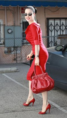 Dita Von Teese Patent Leather Tote - Dita Von Teese went all red out in Hollywood, completing her look with this patent croc tote.